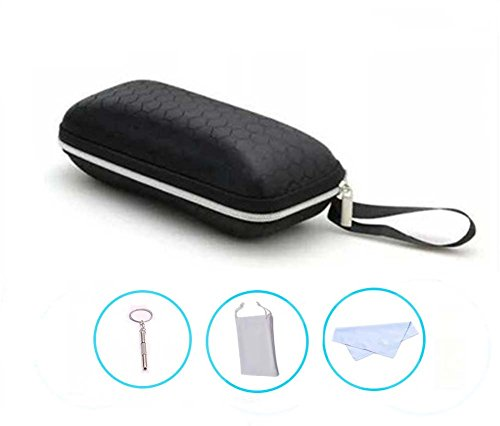 LANGUAN Portable Zipper Eyeglasses Case, Honeycomb Glasses Sunglasses Hard Case Box Protector for Men & Women or - Scheme Sunglasses