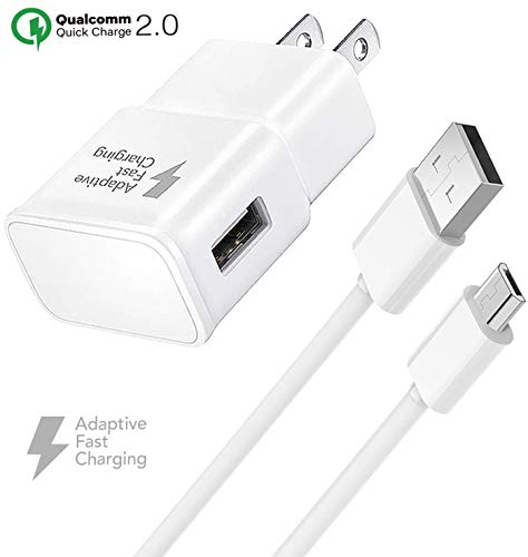 Galaxy S7 Adaptive Fast Wall Charger Micro USB Cable Set - Compatible Samsung Galaxy S7 Edge, Note 5, Note 4, Note Edge, S4, S6 Edge, HTC One M9, LG V10 by Truwire 1 Quick Wall Charger + 1 Cable