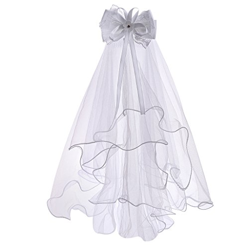 Flower Girls White First Communion Veil Headband with Bow (One size, White (Lace Bowknot)))