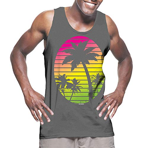 HAASE UNLIMITED Men's Neon Palm Trees Tank Top (Charcoal, XX-Large)