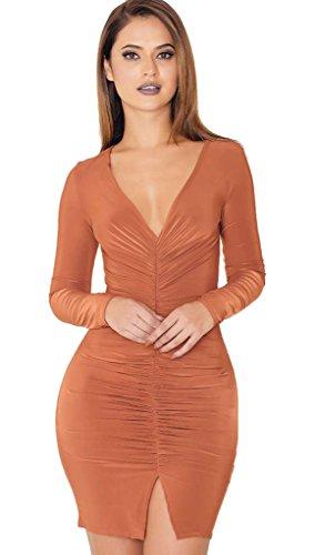 Charmeuse Chiffon Skirt (ALAIX Women Deep V Collar Split Ends Autumn Mini Long Sleeve Dress Reddish)