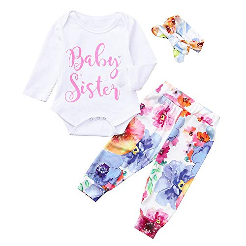 - Suma-ma Infant Baby Girl Twin Romper+Retro Floral Long Pant 2Pcs Outfit Set Pjs