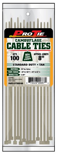 Pro Tie CFT8SD100 8-Inch Tan Nylon Standard Duty Cable Ties, 100-Pack by Pro Tie