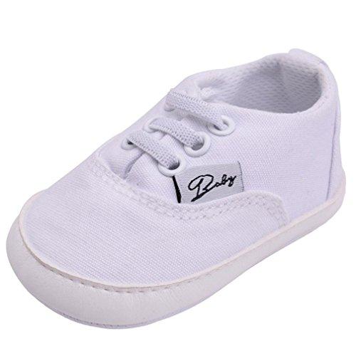OverDose Unisex Baby Sneakers, Neugeborene Säuglingsbaby Mädchen-Jungen-Krippe Schuhe Weiche Alleinige Anti Rutsch Turnschuh Segeltuch Schuhe Weiß
