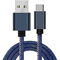 ARGOO Cable USB C a USB A 2.0 Cable Tipo C Carga Rápida y Transmisión de Datos Denim Trenzado Vaquero para Samsung Galaxy S10/S10e/S10 Plus, S9/S9 Plus/S8/S8 Plus, Note 8/Note 9, MacBook Pro 2016 , Huawei P20/P20 Pro/P30/P30 Pro/Mate 10/10 Pro Mate 20/20 Pro,moto G7/X4/Z3,motorola one, Nuevo Google Chromebook Pixel y Otros Dispositivos USB C–Azul 1.8 Metro