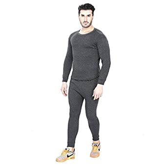 Sheomy Fashion Men's Fleece Winter Body Warmer Thermal Top Pajama and Bottom Suit Combo Set (Large)