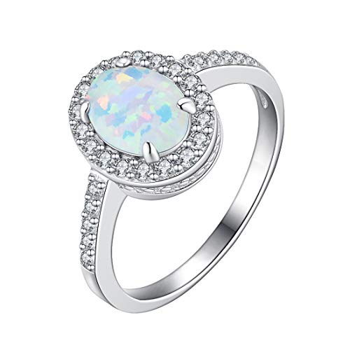 FANCIME 925 Sterling Silver Oval Shaped Opal Halo CZ Cubic Zirconia Ring for Women Girls, Size 5