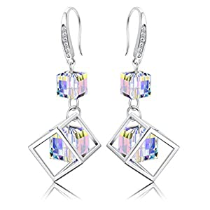 KesaPlan 18K Platinum Plated Cube Drop Dangle Earrings for Women Square Aurora Crystal Earrings for Christmas, Crystal…