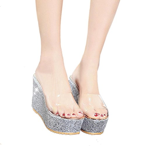 a4db70576505 Sunbona Women s Non-Slip Transparent Slide Sandals Bling Glitter Platform  Wedge Beach Slippers Slide On High Heel Shoes (US 5.5 (RU EU CN 36 )