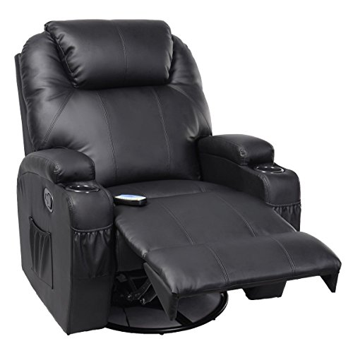 Price comparison product image Tangkula Pu Leather Ergonomic Heated Massage Recliner Sofa Chair Deluxe Lounge Executive w/ Control (Black)