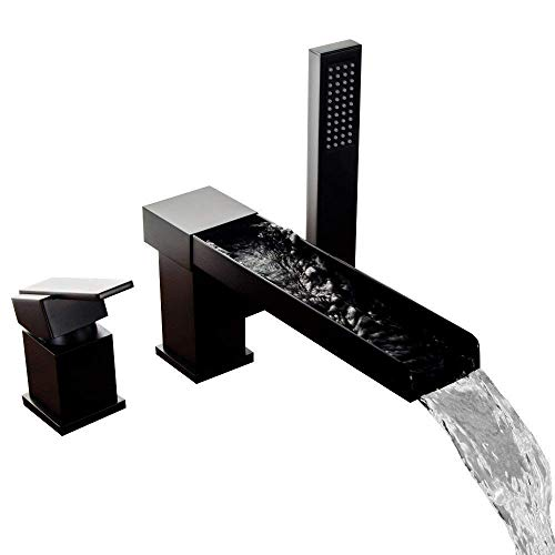 (Hongala Contemporary 3-Hole Waterfall Bathtub Faucet Bathroom Roman Tub Filler with Handheld Shower(Black))