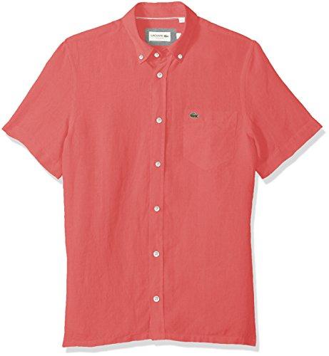 4769c025a Galleon - Lacoste Men s Short Sleeve Solid Linen Button Down Collar Reg Fit  Woven Shirt