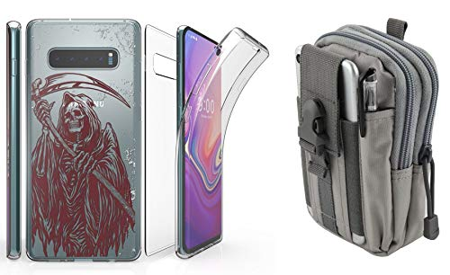 Beyond Cell Tri Max Series Compatible with Samsung Galaxy S10+ Plus with Slim Full Body Self Healing Screen Protector Case (Grim Reaper), Travel Pouch (Gray) and Atom Cloth