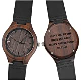 Custom Engraved Wooden Watches for Men Genuine Black Leather Band Double-Sided Engraved Personalized Anniversary Gifts Ideas Husband Gifts for Men