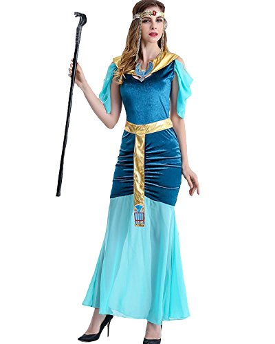 Ancient Egyptian Dress (Aifang Womens Halloween Costume Fancy Adult Cosplay Ancient Egyptian Queen Greek Goddess Dress L)