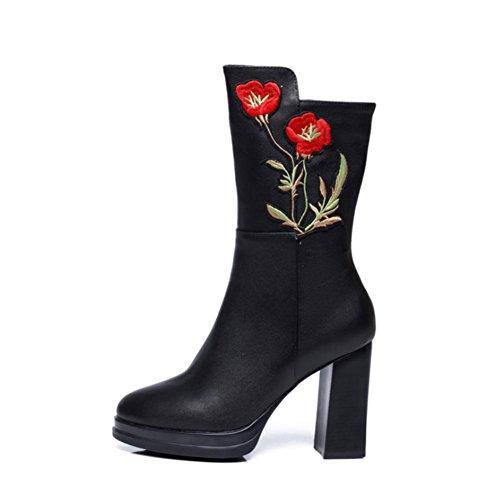 pelle Scarpe in da Stivali martin pelle di punta 4U® Stivali vera in scamosciata donna tacco Best in autunnale da alto 187qaw5