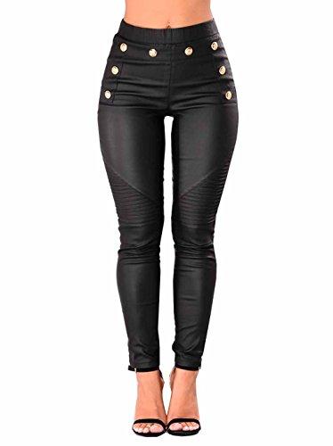 FAROOT Women's Faux Leather Sexy Black Long Leggings Pants (Black, US 6-8)
