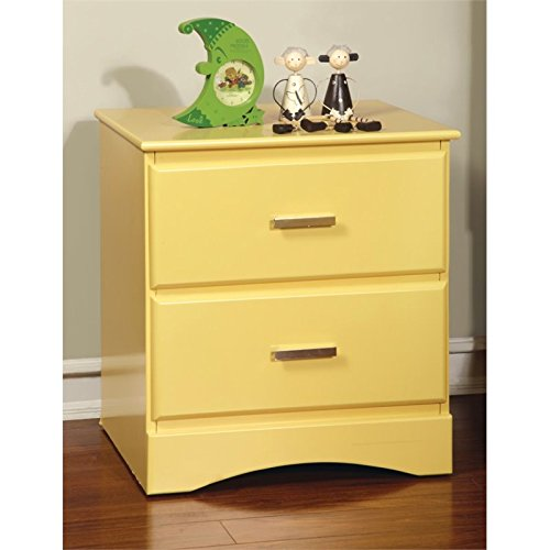 Furniture of America Geller 2 Drawer Nightstand in Lemon Yellow