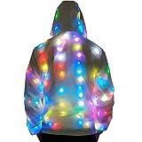 Light Up Plus Size Baseball Jacket Glowing Women Men Hooded Party Led Costume Coat (2XL(Height 175-180cm)) White