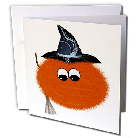 Cute Halloween Greetings (Halloween Cute Fuzzy Critter Orange Witch - Greeting Cards, 6 x 6 inches, set of 6 (gc_131137_1))