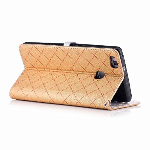 Yiizy Huawei P9 Lite Custodia Cover, Amare Design Sottile Flip Portafoglio PU Pelle Cuoio Copertura Shell Case Slot Schede Cavalletto Stile Libro Bumper Protettivo Borsa (Dorato)
