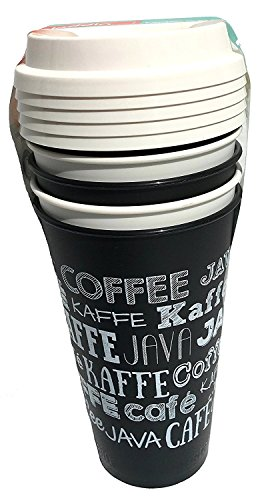 Aladdin 5 Reusable To-Go Cups (Cafe, Java, Coffee) Black & White Chalkboard