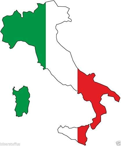 MFX Design Italy Silhouette Bumper Decal Map Flag Tool Box Sticker Decal Laptop Sticker Decal Vinyl - Made in USA 3.5 in. x 3 in.