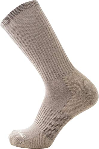 CloudLine Merino Wool Tactical Military Hiking Socks - for Men & Women - Large Tan