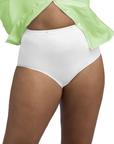 Just My Size Women's 5 Pack Cotton Brief Panty, White, 13