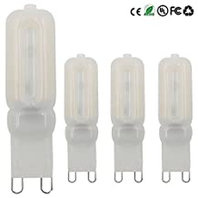 Dayker 4 Watts G9 Light Bulb Dimmable LED Bipin Silicone SMD 2835 22 LEDs AC 100-130V Warm White JD Type Chandelier Corn Bulbs Equivalent to 35W Incandescent Bulb(4 Pack)
