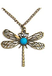 Classic Vintage Bronze Dragonfly Pendant Necklace Chain