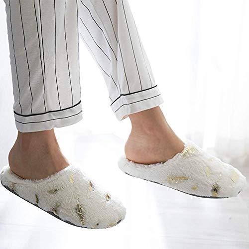 Intérieur Antidérapant L'automne Hiver Chaussons Accueil Unisexe Coton Souple Doux Plumes Tongues White Confortable d'or Bas Chaussures wxgqH