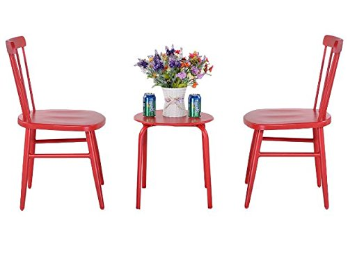 K&A Company Patio Bar Bistro Set Furniture Table Pub Kitchen Stools Breakfast Dining Home Indoor Square Bistro Furniture Set Cast Aluminum Steel 3 pcs Red by K&A Company