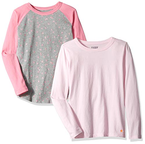 Youth Sleeve Star Long - LOOK by Crewcuts Girls' 2-Pack Graphic/Solid Long Sleeve T-Shirt, Star/Pink, Small (6/7)