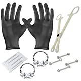 Perfact Nipple piercing starter kit 14g and 16g straight bars for nipples and 2 Clickers forceps and needles all included