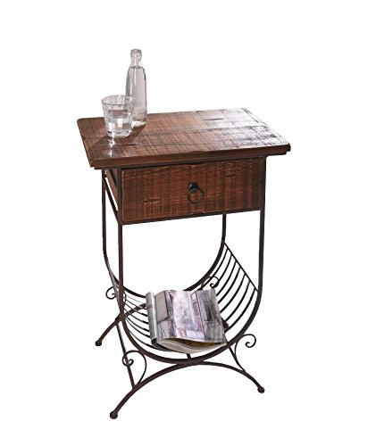 PierSurplus Accent Side Table w/Wooden Top/Drawer and Metal Bottom Magazine Rack Product SKU: HD223549 (Rack Magazine Top Wide)