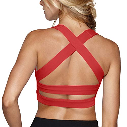 Snailify Women's Sports Bra Criss Cross Racerback High Impact Yoga Running Wirefree Bras - Small(30AA-C) Red