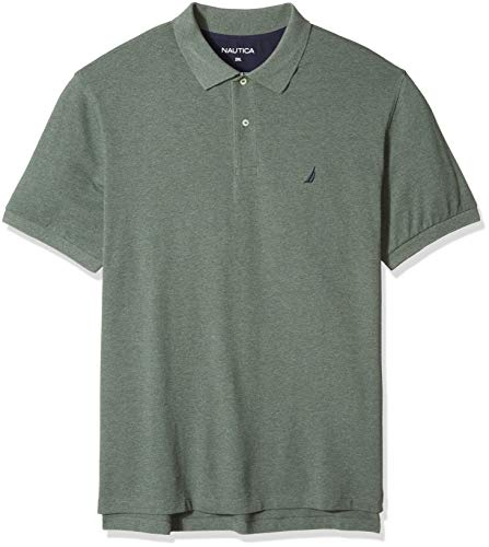 Heather Forest - Nautica Men's Big and Tall Short Sleeve Solid Deck Polo Shirt, Pine Forest Heather 1X