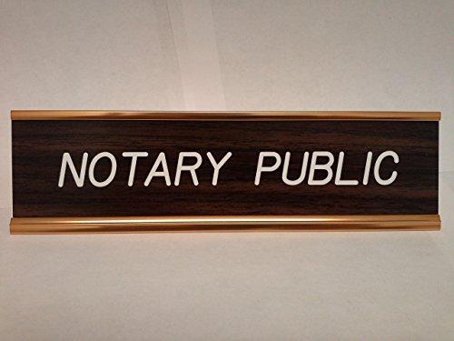 Walnut Notary Desk Sign