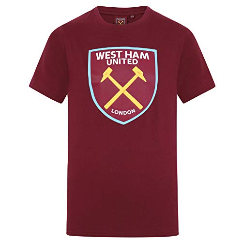 West Ham United Fc Official Gift Boys Kids Crest T-Shirt Claret 10-11 Years LB