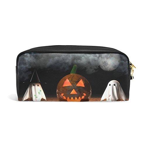Halloween Pumpkin Jacks Lantern Attribute Phantoms Print Pu Leather Pen Pencil Case Pouch Case Makeup Cosmetic Travel School Bag for $<!--$18.00-->