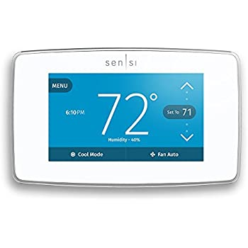 Emerson ST75W Sensi Touch Wi-Fi Thermostat with Touchscreen Color Display for Smart Home, White, Works with Alexa