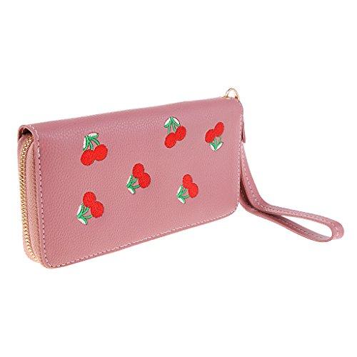 MagiDeal Portefeuille en Cuir PU Pochette Porte Monnaie Sac d'Embrayage Bracelet Femme - Vert Rose