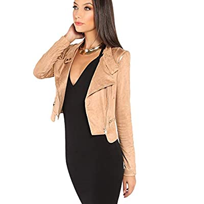 Milumia Women's Faux Suede Stand Collar Hidden Zip Bomber Short Jacket at Women's Coats Shop
