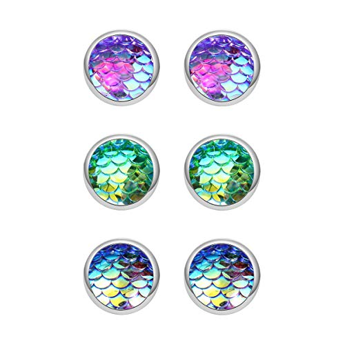 MissNity Trio Mermaid Scale Silver Tone Stud Earrings Faux Druzy Stone Seafoam Clear AB Blue Best Friend for Girls