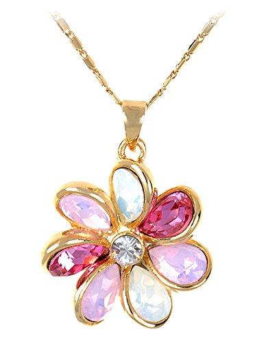Alabaster Roses - Alilang Alabaster Rose Alternating Floral Petals Golden Tone Crystal Necklace