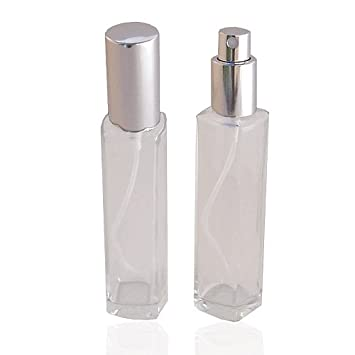 62ae6ce8fd61 Empty Refillable Slim Perfume Glass Bottle with Silver Spray Top 1.7 Ounce
