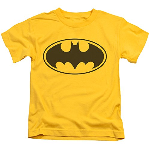 (ExpressBeyond Batman Black BAT Medium Cotton T-Shirt Yellow Child Boy's Girl's Short Sleeve T-Shirt)