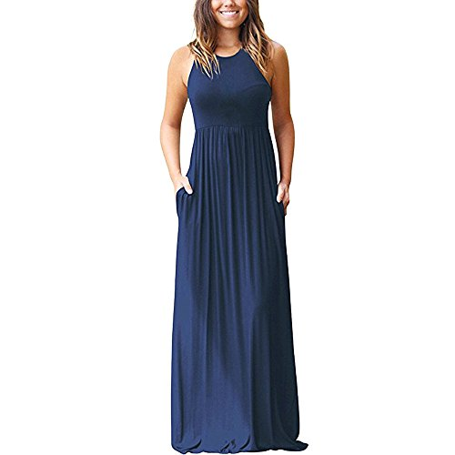(TnaIolral Women's Sleeveless Floral Racerback Loose Swing Casual Tunic Beach Long Maxi Dresses with Pockets (L, Navy))