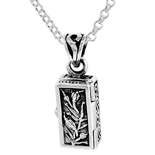 Sterling Silver Prayer Box Necklace Tulips Motif, 5/8 inch 24 inch Chain Rol_1